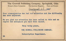 The Crowell Publishing Company Postcard
