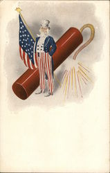 Uncle Sam, American Flag and a Large Fire Cracker