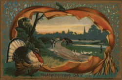 Thanksgiving Day - Fall Scene with Pumpkin & Turkey