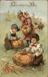 Thanksgiving Day-Children with Pumpkins