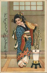 A Happy Birthday. Cartoon Geisha posing with a fan and vase