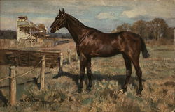 Painting of Horse Near Racetrack