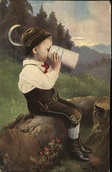 German Boy Drinking from Beer Stein