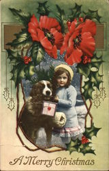 Girl with St. Bernard Carrying Present