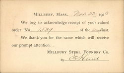 Order Receipt from Millbury Steel Foundry Co.