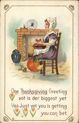 Thanksgiving Greeting: Dutch Woman Seated Next to Hearth
