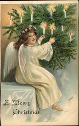 Angel Lighting Candles on the Tree