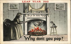 Leap Year 1912-Woman with a Man in a Popcorn Basket over a Fire