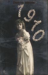 Bonne Annee (Happy New Year) 1910 Photo of young girl with flowers.