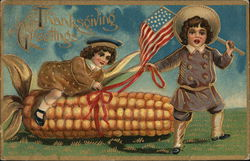 Thanksgiving Greetings - Child Riding Corn Cob, Flag