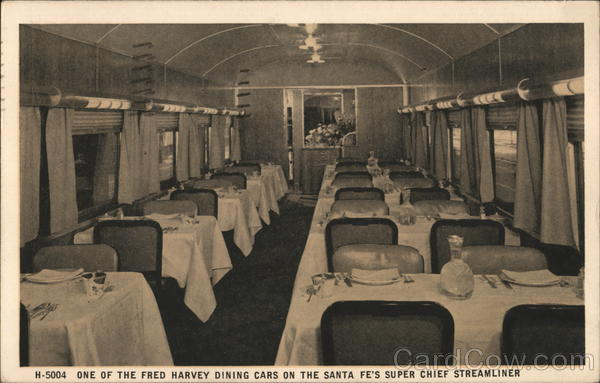 Fred Harvey Dining Car On The Santa Fe S Super Chief