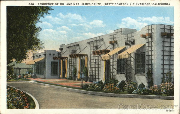 Residence of Mr. and Mrs. James Cruze, (Betty Compson) Flintridge California