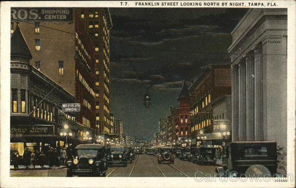 T.7. Franklin Street Looking North by Night Tampa Florida