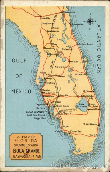 Map of Florida Showing Boca Grande and Gasparilla Island