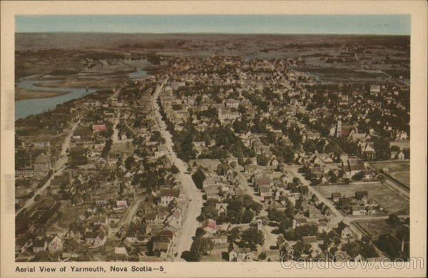 Aerial view of City Yarmouth Canada Nova Scotia