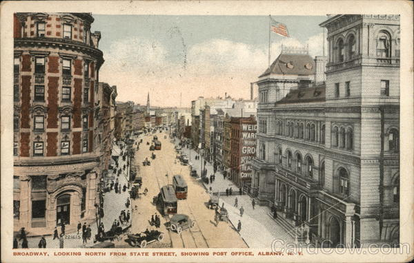 Broadway, Looking North from State Street, Showing Post Office Albany New York