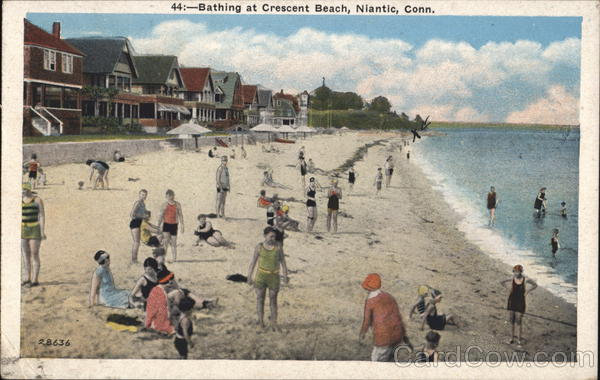Bathing at crescent beach niantic ct postcard sciox Choice Image