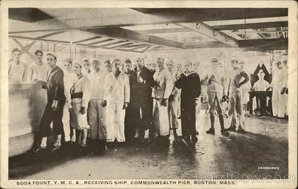 Soda Fount, Y.M.C.A., Receiving Ship, Commonwealth Pier Boston Massachusetts
