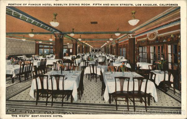 Portion of Famous Hotel Roselyn Dining Room, Fifth and Main Streets Los Angeles California