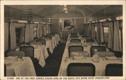 Fred Harvey Dining Car on the Santa Fe's Super Chief Streamliner