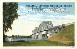 Abraham Lincoln Memorial Bridge, Crossing Missouri River Postcard