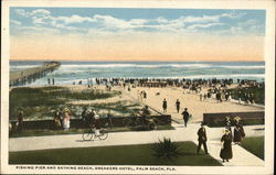 Fishing Pier and Bathing Beach, Breakers Hotel Postcard