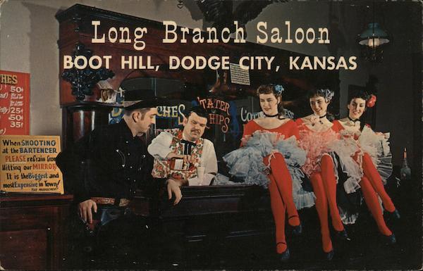 Long Branch Saloon, Boot Hill Dodge City, KS Postcard