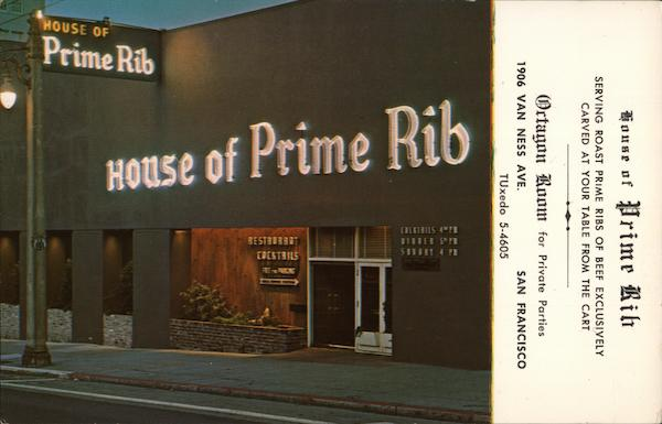 House of Prime Rib San Francisco California