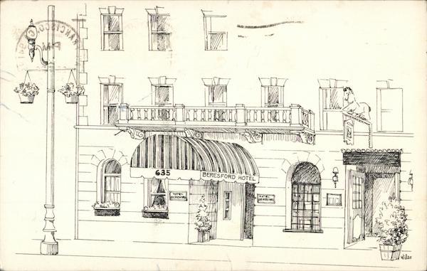 beresford hotel san francisco ca postcard. Black Bedroom Furniture Sets. Home Design Ideas