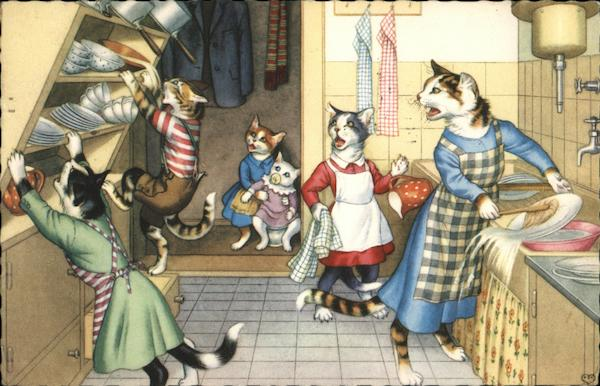 Cat family in a kitchen dressed in people clothes Cats