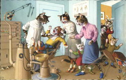 Cartoon Cats at a dentist office dressed in human clothing.