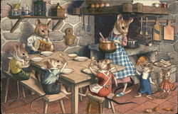 Dressed Mice At Kitchen Table Waiting to Eat