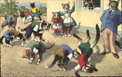 Cats Playing In School Yard