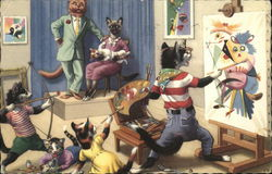 Cats Dressed as Humans - Painting and Posing