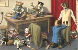 Cats working as tailors in a shop.