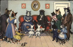 Dressed Cats Visiting Elderly Relatives