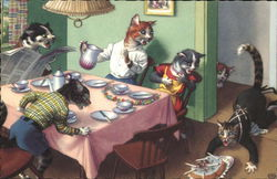 Dressed Cats at Dinner Table Accident