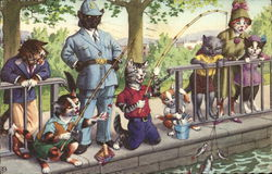 Illustration of Cats Dressed as Humans Fishing