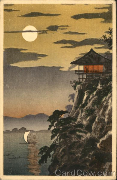 House Atop A Cliff With Lake And Sailboat And Full Moon Japan