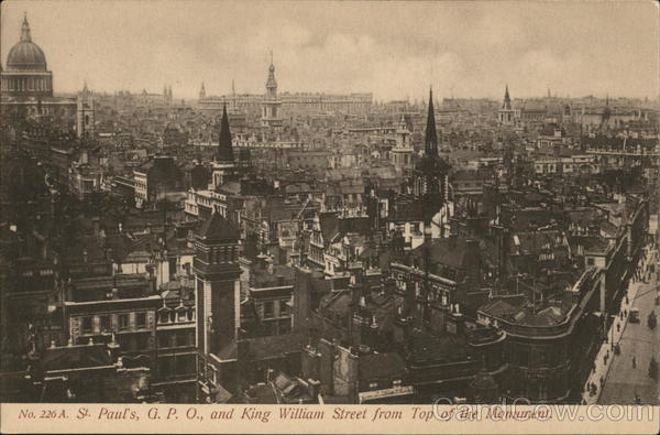 St. Paul's, G.P.O., and King William Street from Top of the Monument London England