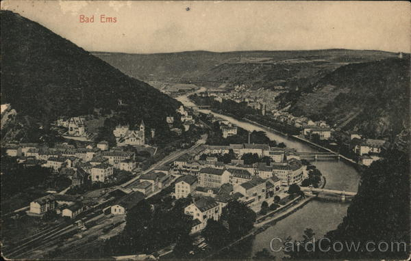 Aerial view of City Bad Ems Germany