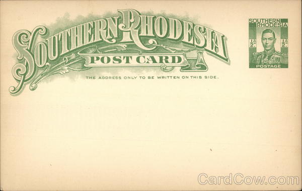 Blank Postal Card from Southern Rhodesia Africa