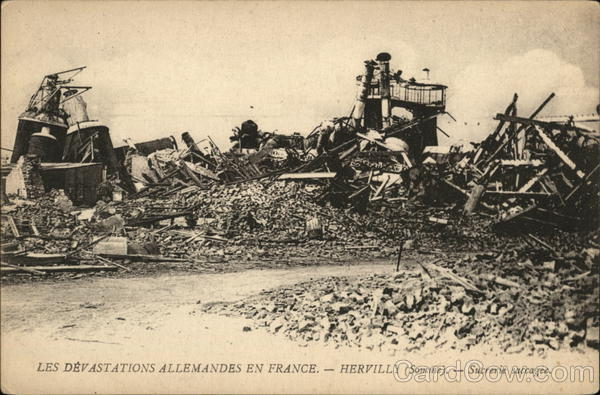 Les Devastations Allemandes En France Hervilly World War I