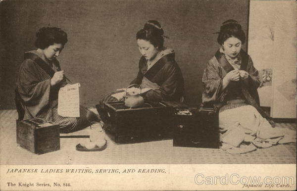 Japanese Ladies Writing, Sewing, and Reading Asian
