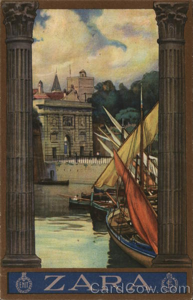 Ships on River Zara Spain Spain, Portugal Poster Style