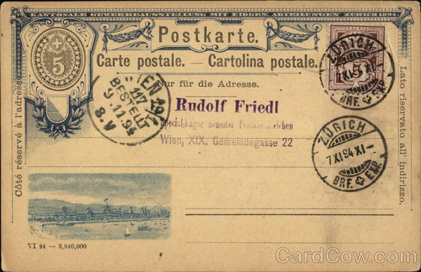Boats on Water, 1894 Postal Card Switzerland Interesting Cancels