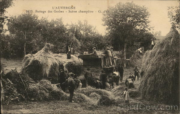 Threshing Sheves in L'Auvergne France B&W photo early 1900's