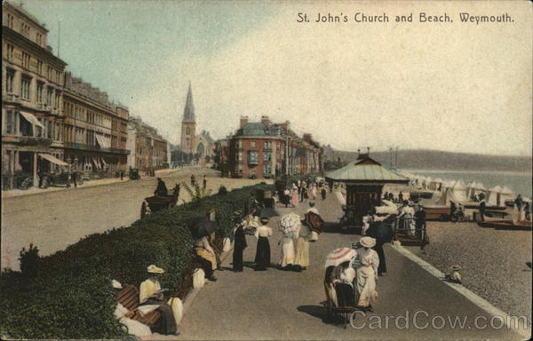 ST. John's Church and Beach Weymouth England Dorset