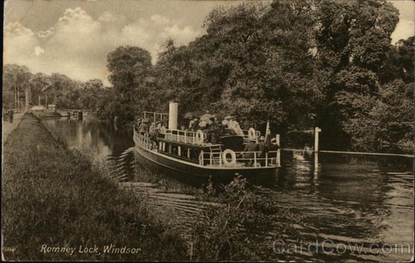Boat on Romney Lock Windsor England Berkshire