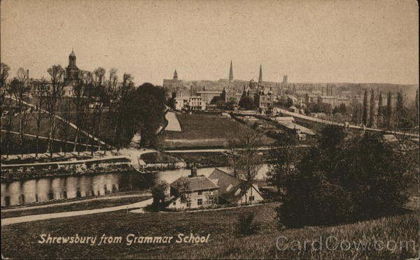 View of Town From Grammar School Shrewsbury England
